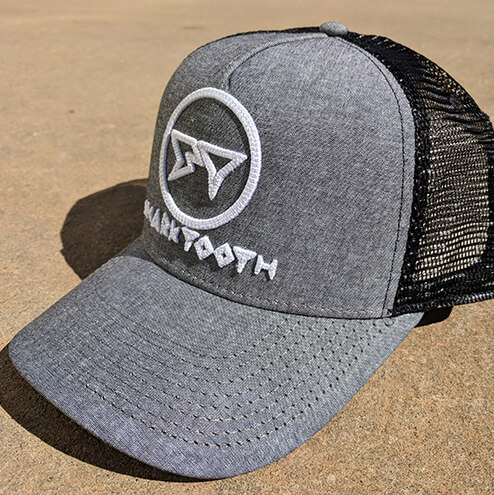 Shark Tooth Rise Trucker Hat - Black Oxford Side