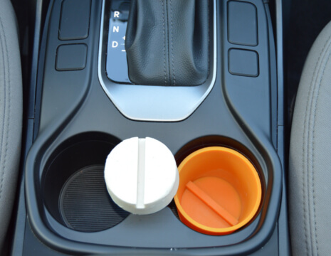 The Orange Peel in a Cup Holder with Wax Removed