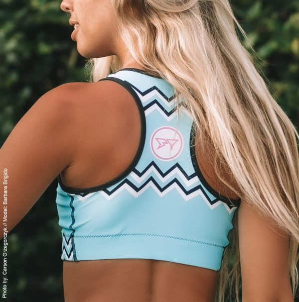 Barbara Brigido modeling the back view of the Toxic Sports Bra by Shark Tooth Surf Co. Photo by: Carson Grzegorczyk