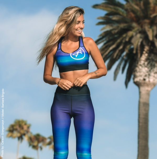 Barbara Brigido modeling the front view of the Namaste Yoga/Surf Leggings by Shark Tooth Surf Co. Photo by: Carson Grzegorczyk