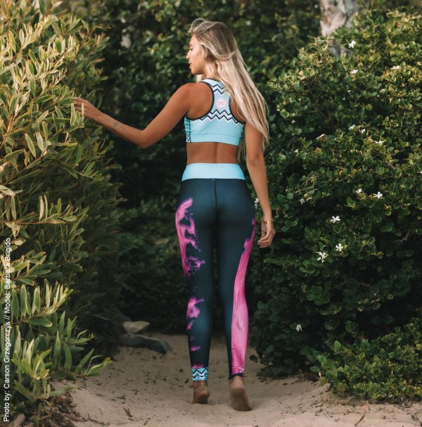 Barbara Brigido modeling the back view of the Toxic Yoga/Surf Leggings by Shark Tooth Surf Co. Photo by: Carson Grzegorczyk