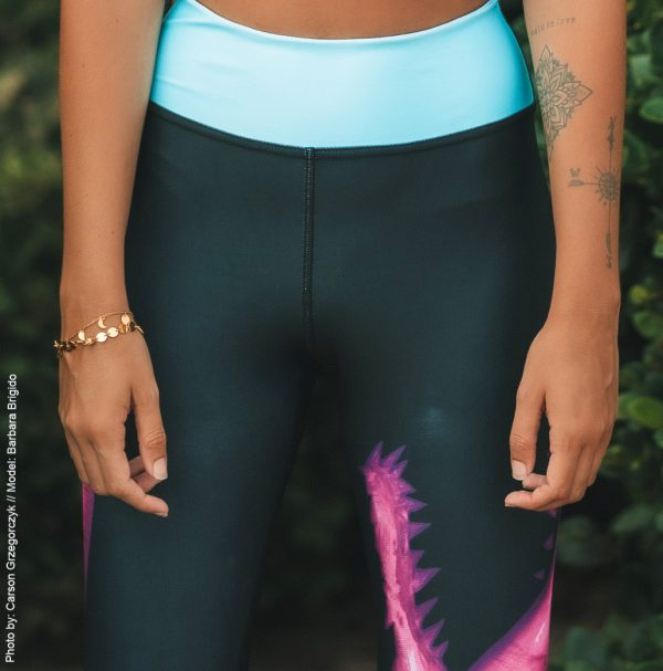 Barbara Brigido modeling the front view close up of the Toxic Yoga/Surf Leggings by Shark Tooth Surf Co. Photo by: Carson Grzegorczyk