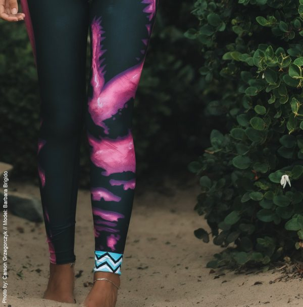 Barbara Brigido modeling the front view leg close up of the Toxic Yoga/Surf Leggings by Shark Tooth Surf Co. Photo by: Carson Grzegorczyk
